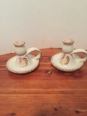 Hermitage Pottery Spongeware THANKSGIVING TURKEY Finger Candle Holders