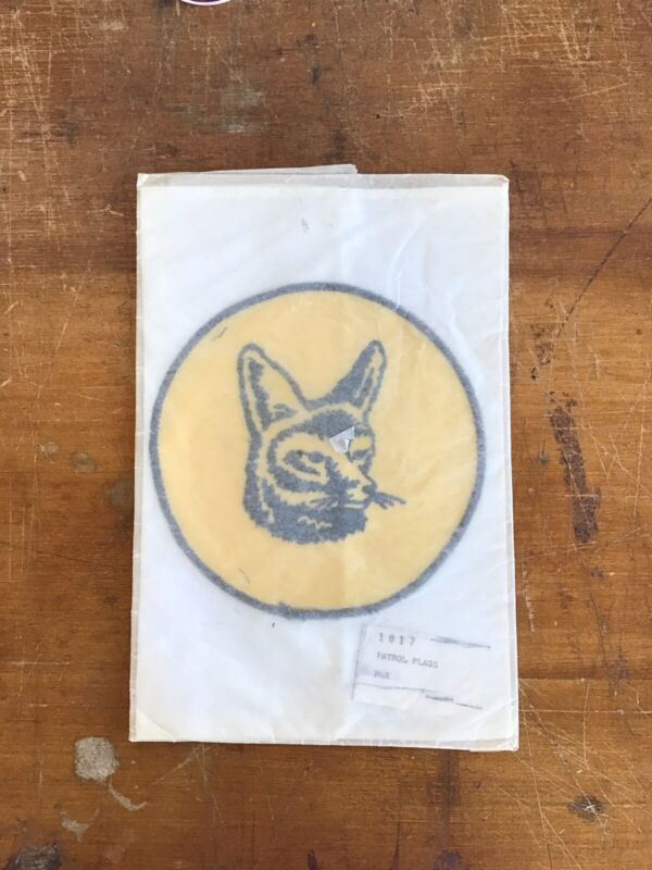Vintage 1970s Boy Scouts BSA Embroidered FOX Patrol Flag NEW