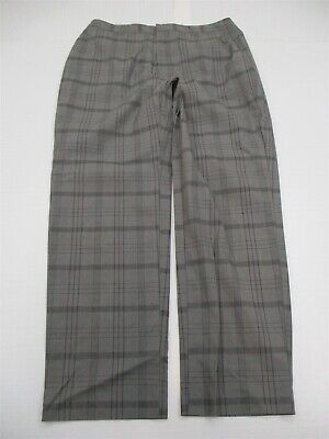 new DOCKERS Pants Women's Size 12 Petite Stretch Cotton Flat Front Gray Plaid