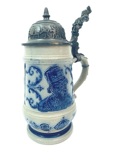 Antique Whites of Utica / Utica White Stoneware Beer Stein FANCY PEWTER LID Gift