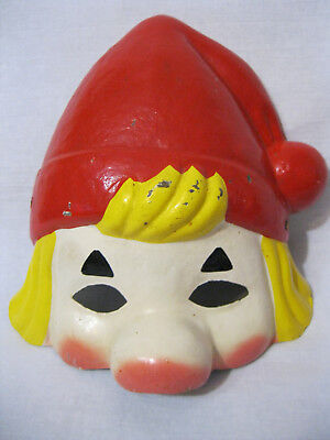 Russian Vintage New Year's Jester Face Cover, Doll,Toy, Comp Sawdust, USSR,60s