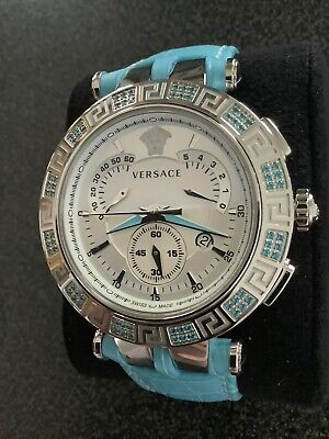 New Men's Versace V-Race 23C Retrograde Chronograph Blue Topaz Watch