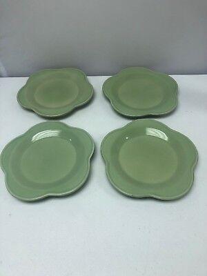 Set of 4 Roseville Spongeware Gerald E Henn Workshops Green Petal Dinner Plates