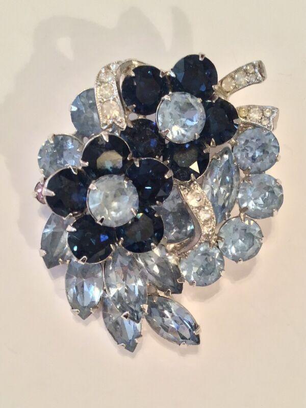 Eisenberg Vintage Signed Blue Crystal Rhinestone Flower Brooch Pin….AS IS