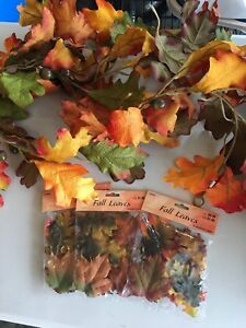 Fall garland and leaves