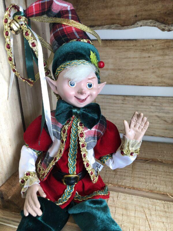 "Elf Raz Imports Elf Poseable Shelf Sitter Red Green Gold Plaid A 16"" New"