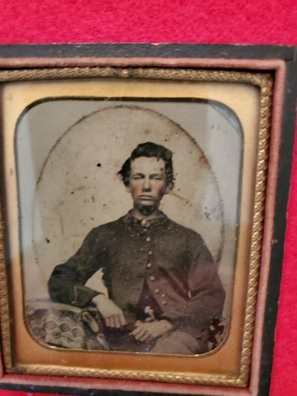 Young Civil War Soldier with standard issue uniform - 6th Plate Tintype