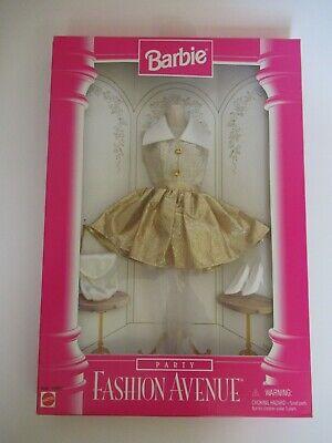 Vintage 90's Barbie Fashion Avenue Gold Party outfit purse shoes hose '96 NRFB