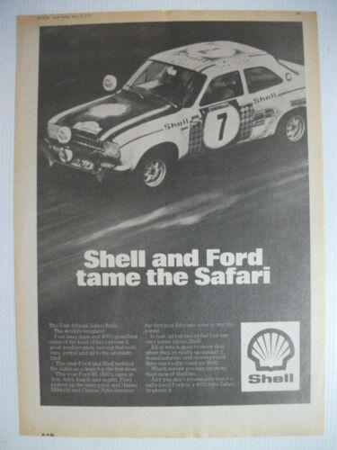 1972 SHELL AND FORD ESCORT RS 1600 TAME THE SAFARI BRITISH MAGAZINE ADVERT