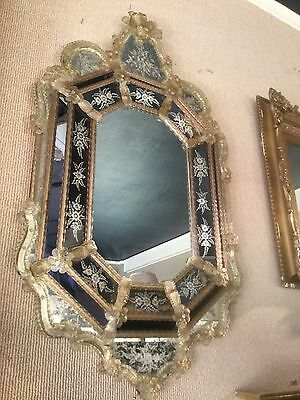 Gorgeous Venetian Murano Italy Blown Glass Etched Floral Design Octagonal Mirror