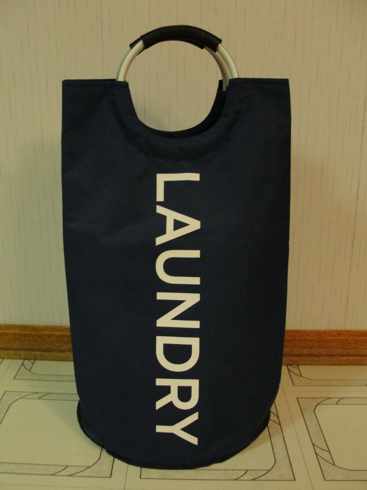 CANVAS  LAUNDRY  TOTE  HAMPER  BASKET  NAVY  BLUE  COLLEGE