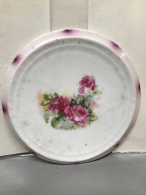 Vintage Porcelain GERMANY Tea Tile Hot Plate Trivet Painted Pink Roses Decor