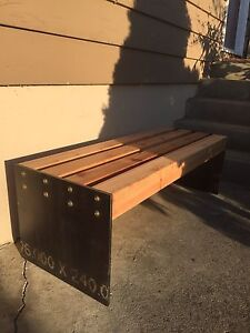 Cedar and Steel Bench