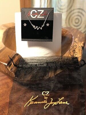 CZ by Kenneth Jay Lane Delicate Flower Necklace And CZ Stud Earrings -New