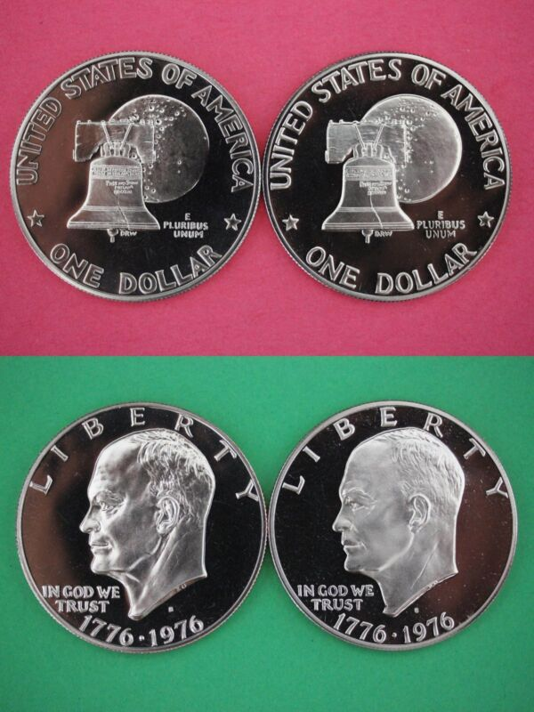 1976 S Type 1 & Type 2 Clad Proof Eisenhower Dollars Combined Shipping