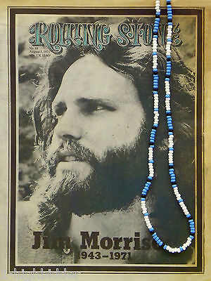 "30"" Jim Morrison Style Handmade Bead Necklace Orig. Turquoise White Black Doors"