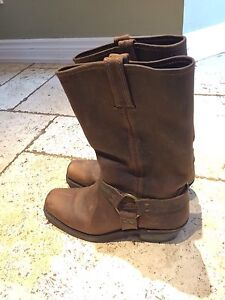 FRYE DISTRESSED LEATHER MOTORCYCLE BOOTS