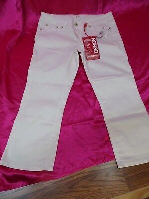 NWT BONGO WHITE CAPRI 'Crop Baby Bell' Jean Pants Denim Shorts ~ Womens Sz 9 Jrs