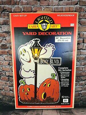 "28"" Halloween Yard Decoration Ghost w/ Jack-o-Lanterns, Lighted, Original Box"
