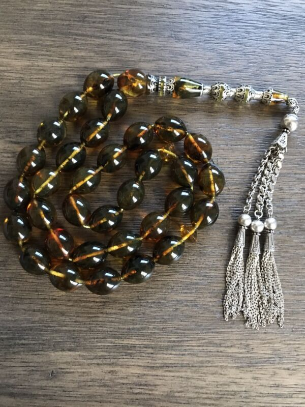 Special Amber 96gm Rosary 33 Beads  Silver Inlay And Tassel  مسباح كهرب كهرم سبح