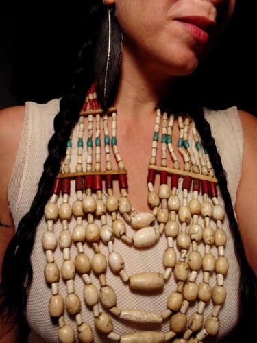 N4042 - Antique Hand Woven Naga Tribe Shell Necklace -  Ethnic Boho