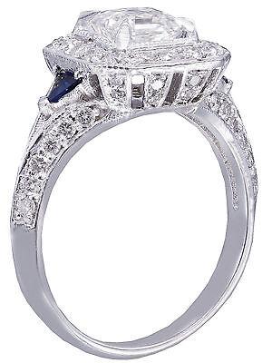 GIA F-VS2 18k White Gold Asscher Cut Diamond Engagement Deco Halo Ring 1.45ctw 5