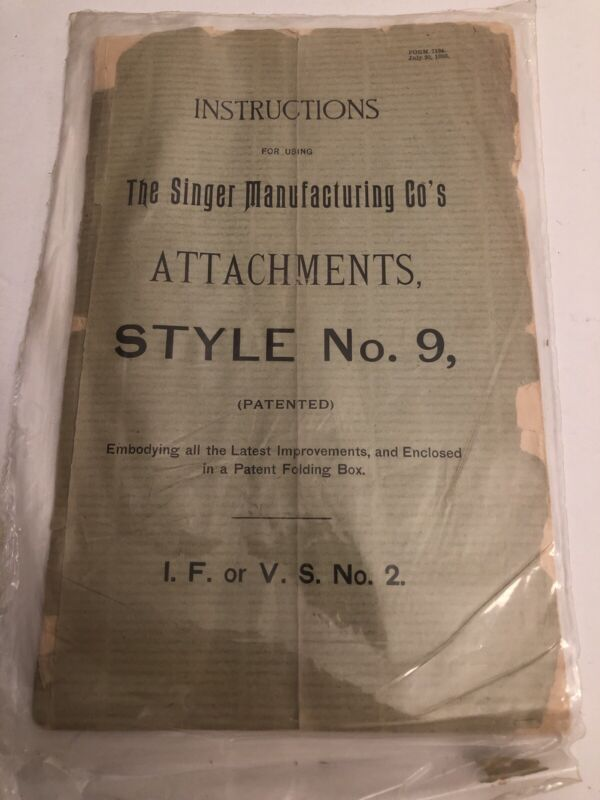Vintage Original Singer Sewing Machine Style No.9 Manual From 1893