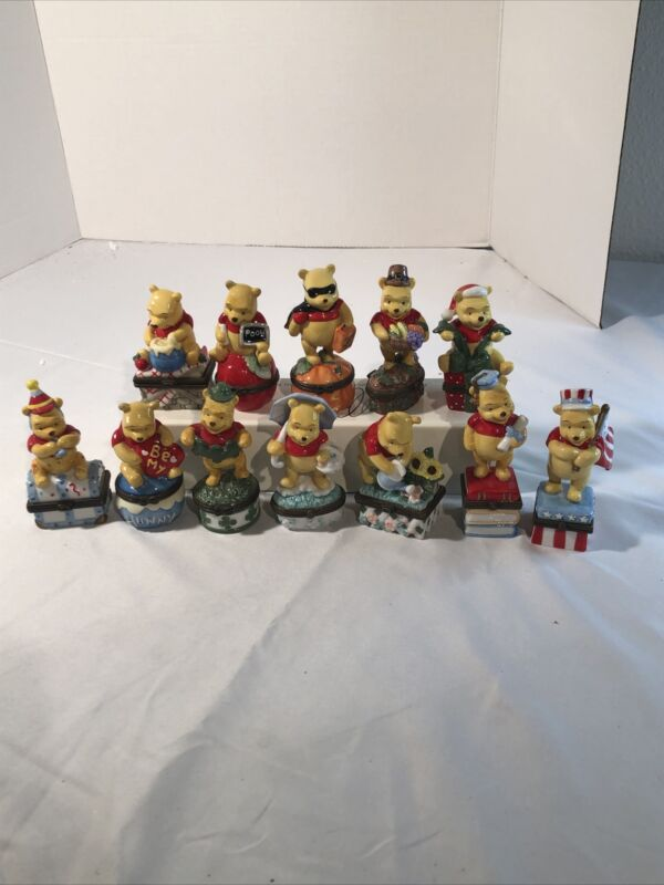 Vintage Winnie the Pooh 1997 12 month trinket boxes full set