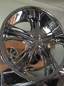 "24"" chrome wheels Chrysler 300c jeep vw mercedes BMW dodge porsche rim Waterford Logan Area Preview"