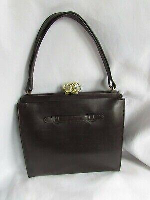 Vintage Women's Original AMITY Brown Leather Handbag Medium Purse Talon Zip