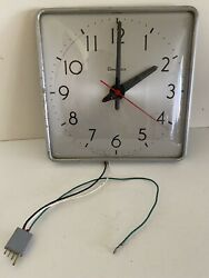 VINTAGE SIMPLEX SQUARE SCHOOL WALL CLOCK INDUSTRIAL MID CENTURY MODERN 12 1/4""