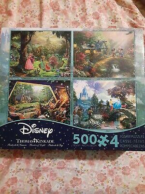 Ceaco Disney Thomas Kinkade Mickey Minnie Snow White Aurora 500pc Puzzle 4 Pack