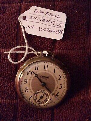 1925 Ingersoll Ensign Mens Pocket Watch*NOT RUNNING*