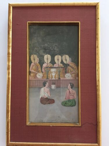 Antique Buddhist Thai manuscript PAINTING 19th Century Bangkok Period
