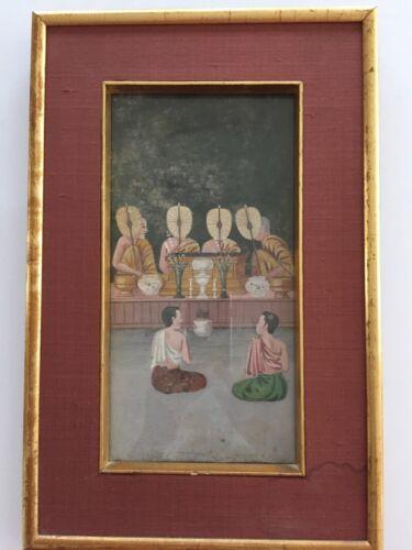 Antique Buddhist Thai manuscript PAINTING 19th Century Bangkok Period