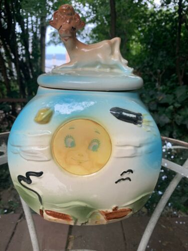 Vintage American Bisque Cow Jumped over the Moon Flasher Cookie Jar 1950