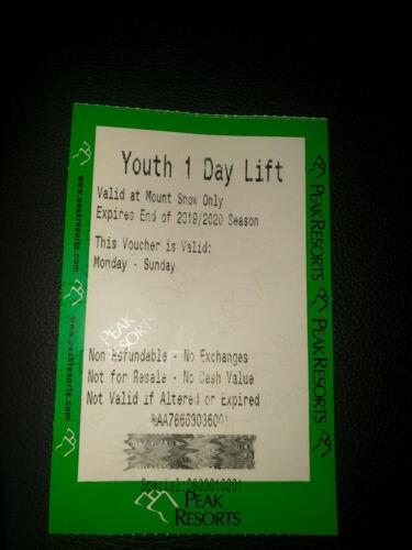 Mount Snow Youth One day Lift Ticket 2020 Season Expires End of Season