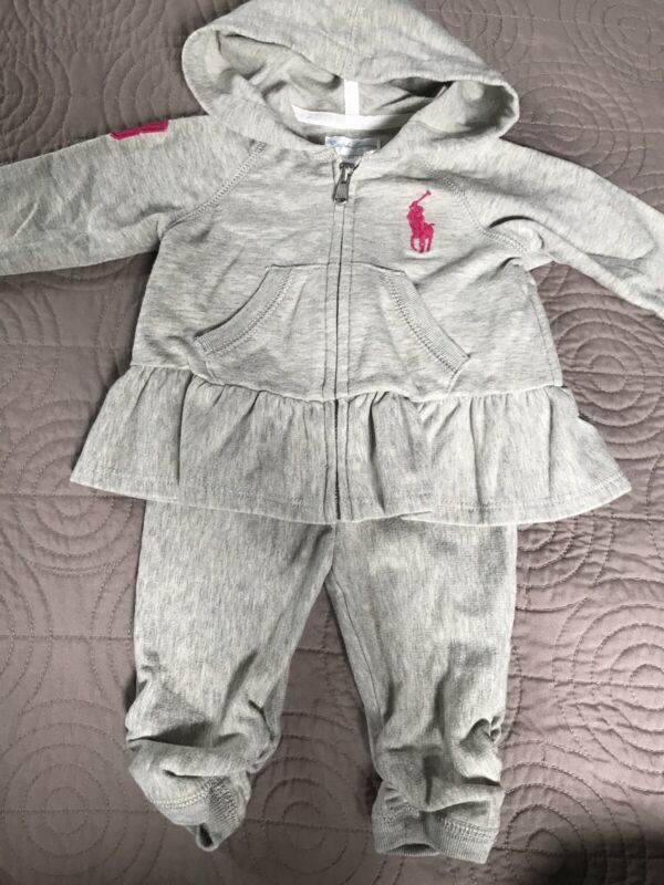 Euc Ralph Lauren Baby Girls Outfit Two Piece Hoodie & Pants Set | Size 6 Months