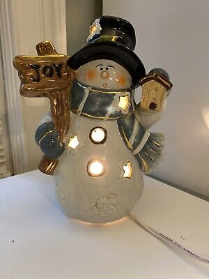 "Glazed Ceramic Light Up 8.5"" Tall Joy Snowman Christmas. Preowned"