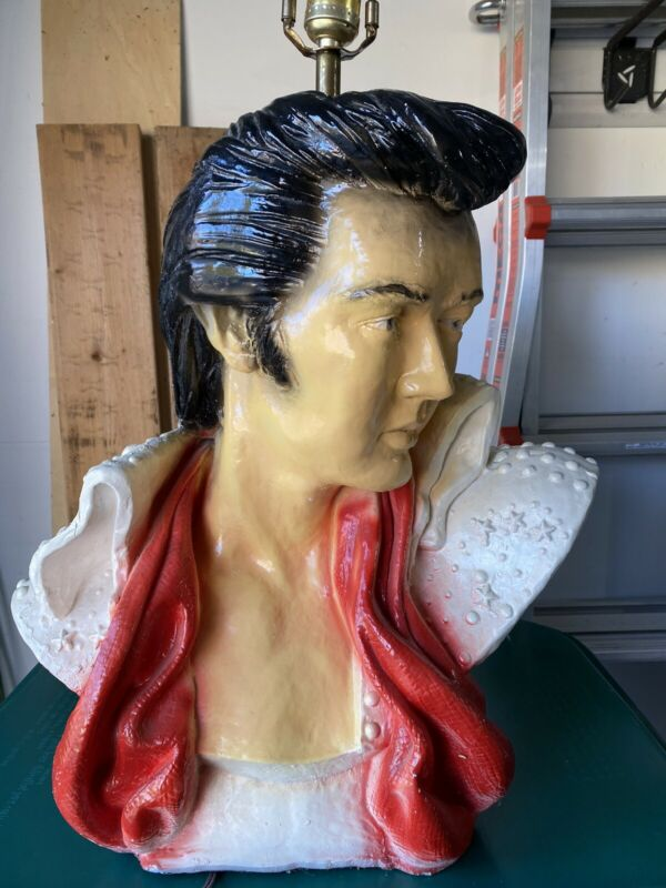 Vintage Elvis Presley Chalkware Bust Table Lamp