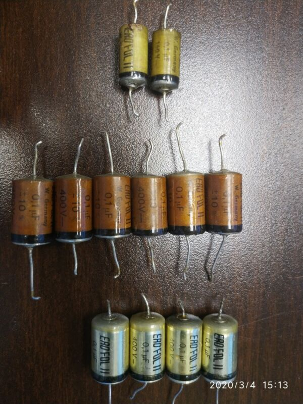 ERO 0.1 uf 400v x10 & 160v x2 Capacitors Erofol II Tone Caps all tested good