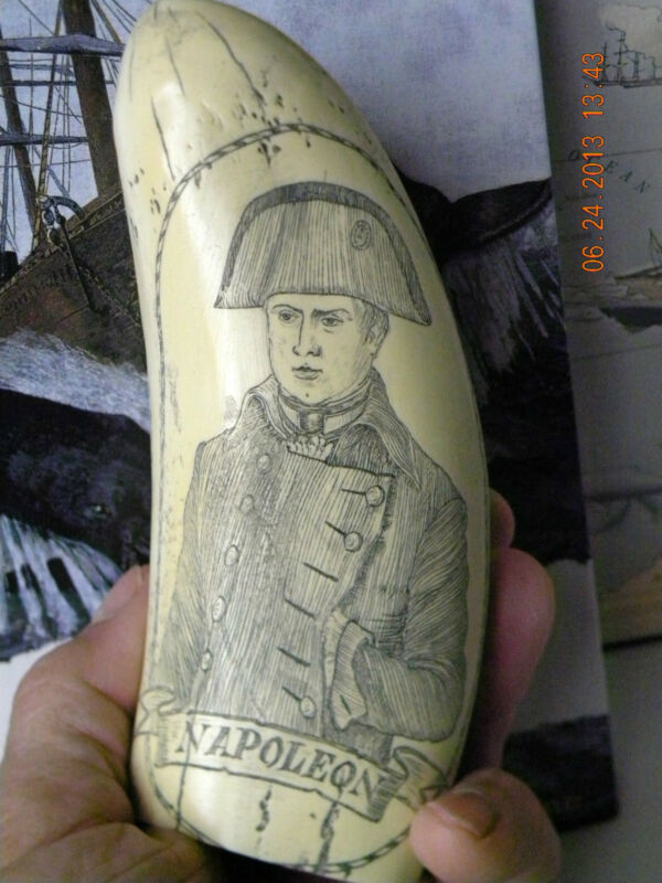 """Scrimshaw Sperm whale tooth resin REPRODUCTION """" NAPOLEON"""" 7 inches long"""