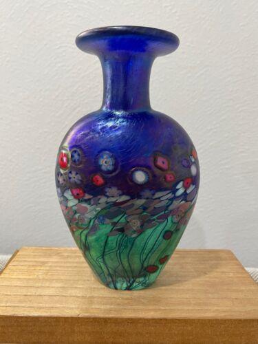 Robert Held Signed Art Glass Vase w/ Flowers / Floral Decoration / Design