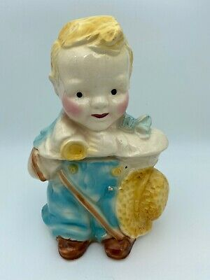 Vintage Original Brush Pottery Little Boy Blue Cookie Jar 10 Inch