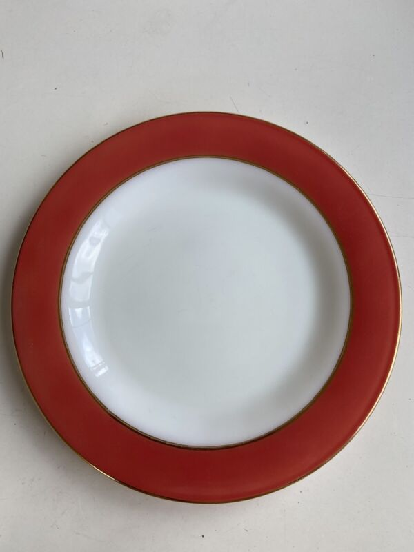 """8  VTG PYREX Pink Flamingo Red Gold Trim 10"""" Dinner Plate And One Without Gold"""