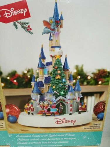 Disney Magic Kingdom Christmas Animated Castle With Lights And Music NEW IN BOX
