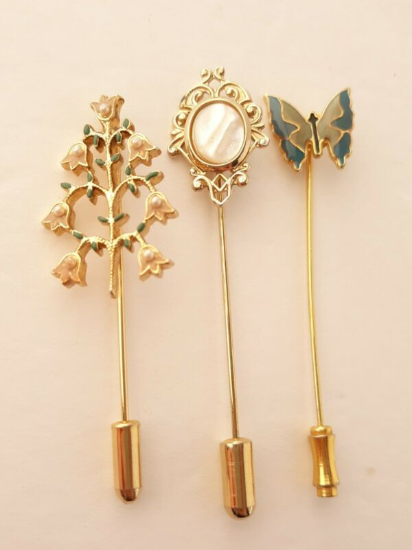 Vintage Floral Mother of Pearl Butterfly Hat Stick Pin Lot