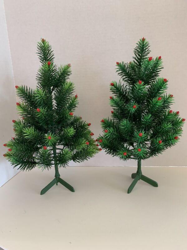 "Vintage 12"" Set of 2 Soft Plastic Christmas Tree Red Berries Pine Spruce Village"