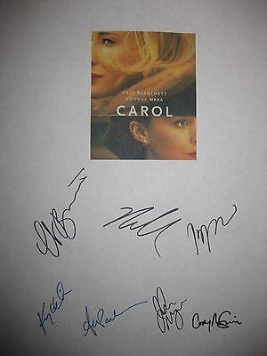 Carol Signed Script Cate Blanchett Rooney Mara Kyle Chandler Production notes rp