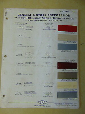 1962 GM PAINT CHIPS DUPONT ORIGINALS CHEVY PONTIAC OLDSMOBILE BUICK CADDY TRUCK